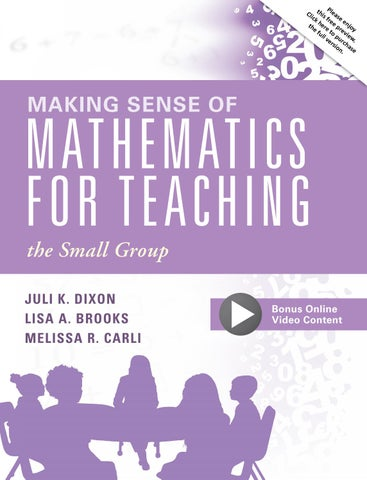 Making Sense of Mathematics for Teaching the Small Group by