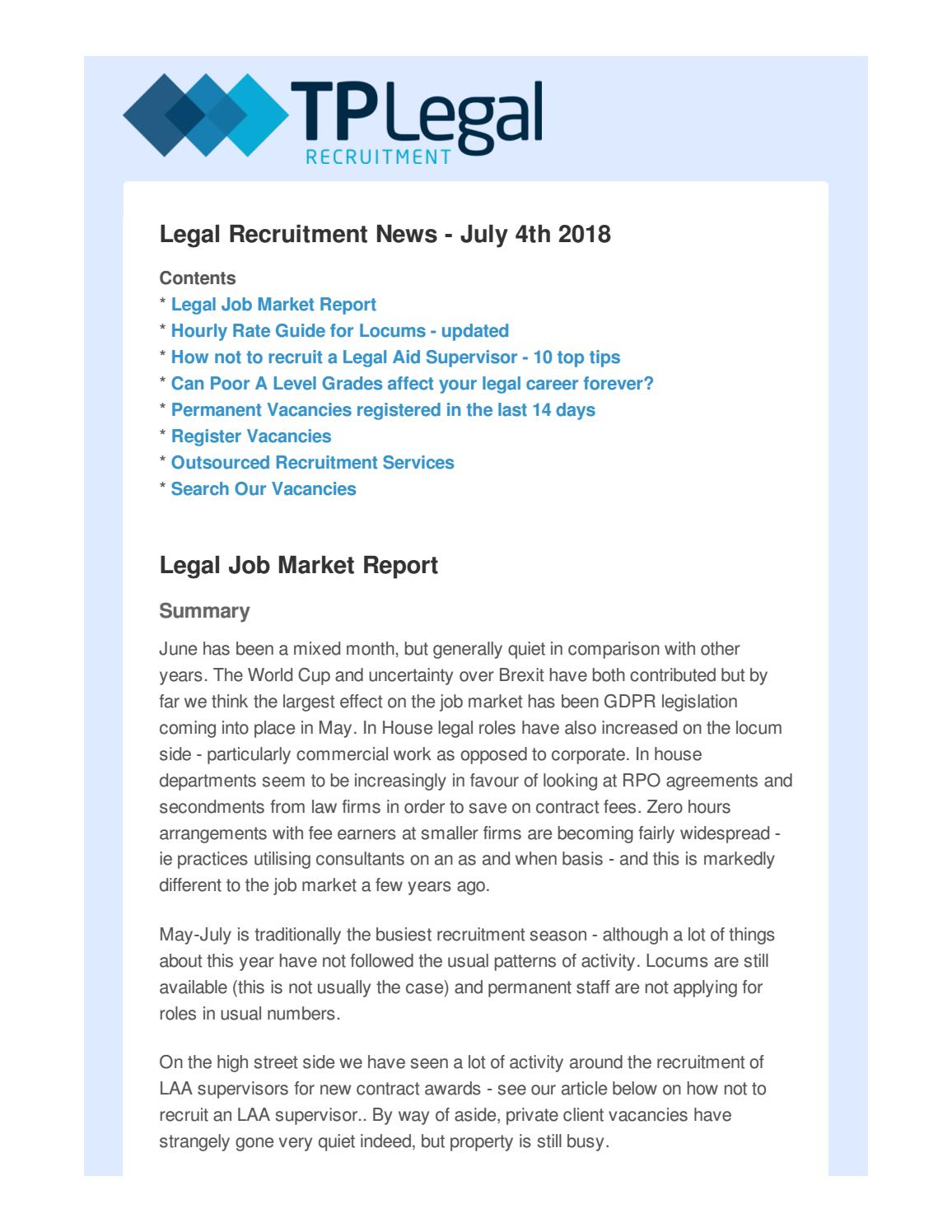 July 2018 Legal Recruitment News and Job Market Report by Jonathan