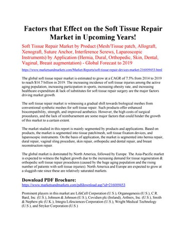 Factors that Effect on the Soft Tissue Repair Market in