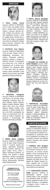07 de Julio de 2018 - Obituarios El Tribuno by El Tribuno - issuu