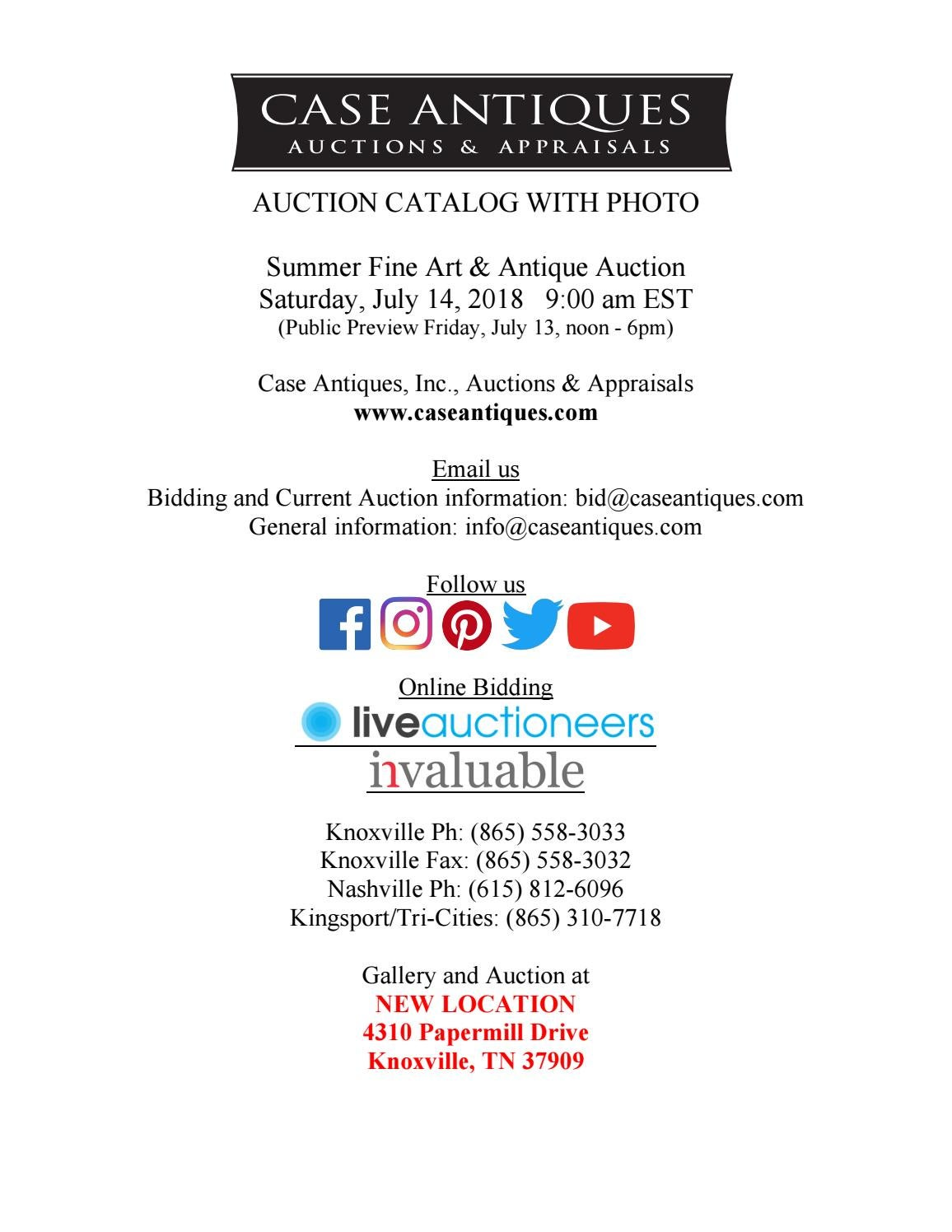 Historic Summer Fine Art And Antiques Auction By Case Antiques Inc Auctions Appraisals Issuu