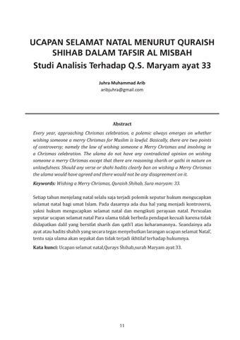 Ucapan Selamat Natal Menurut Quraish Shihab Dalam Tafsir Al