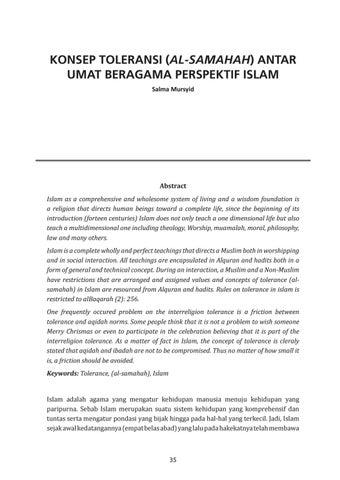 Konsep Toleransi Al Samahah Antar Umat Beragama Perspektif