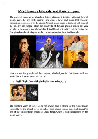 Most Famous Ghazals And Their Singers By Sweta Pandey Issuu