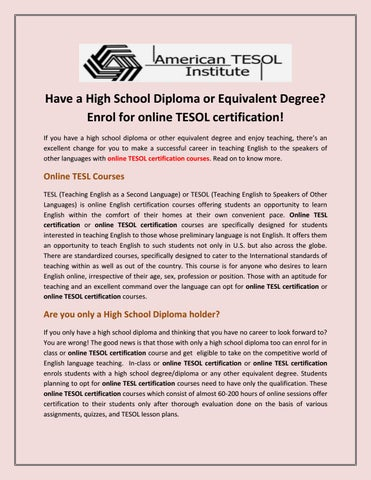 online tesol certification courses by americantesol2018 - issuu