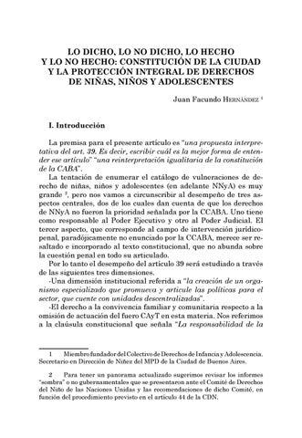 Page 49 of Lo dicho, lo no dicho, lo hecho y lo no hecho: Constitución de la Ciudad y la protección integral de derechos de niñas, niños y adolescentes - Juan Facundo Hernández