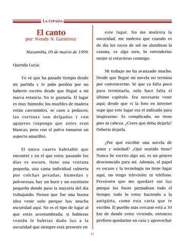 Page 12 of El canto, por Wendy N. Gutiérrez - Cuentos