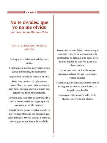 Page 44 of No te olvides, que yo no me olvido, por Ana Lorena Martínez Peña - Poemas