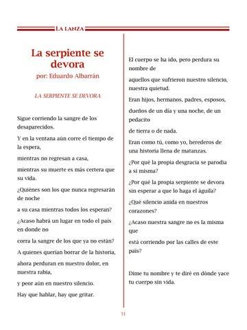 Page 52 of La serpiente se devora, por Eduardo Albarrán - Poemas