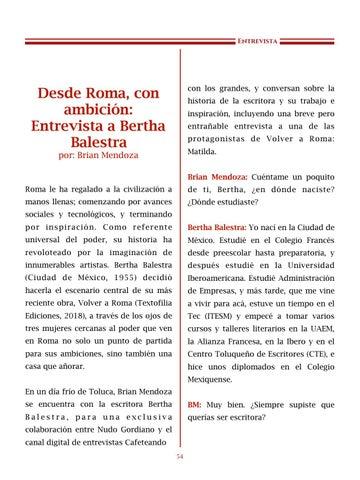Page 55 of Desde Roma, com ambición: Entrevista a Bertha Balestra por Brian Mendoza - Entrevista