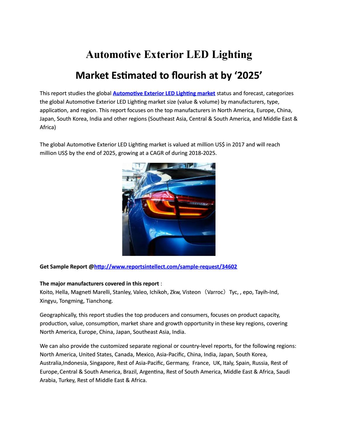 Marketautomotive Exterior Led Lighting Market To Register