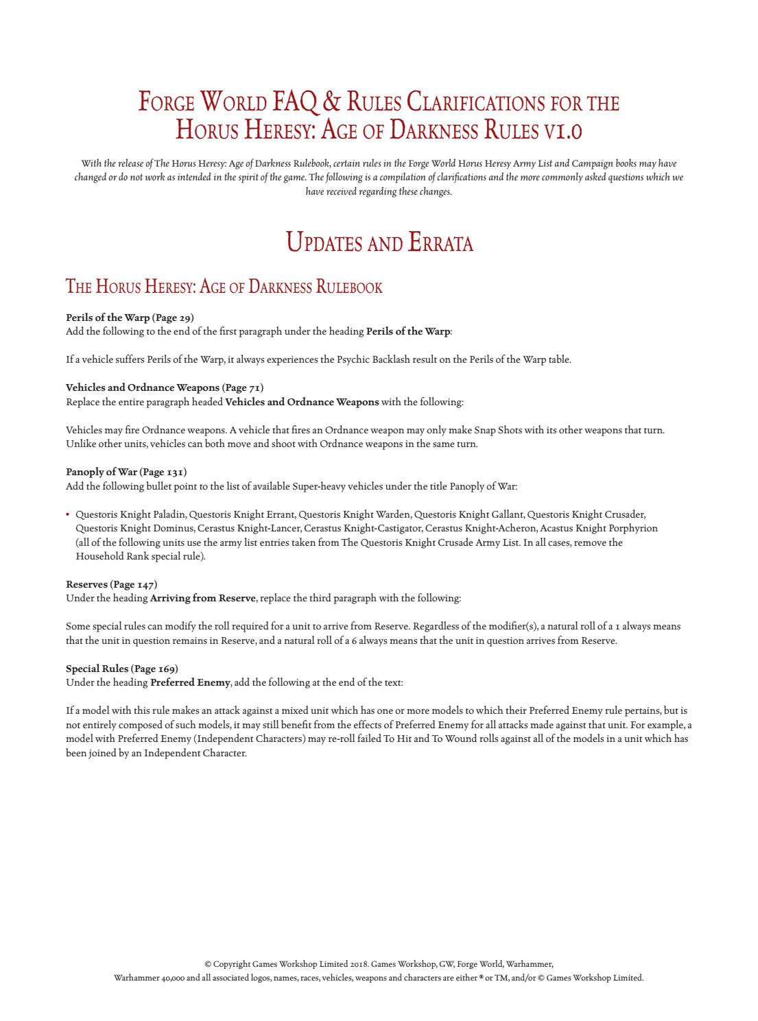 Herejía de Horus Age of Darkness FAQ y Errata 1 0 by Miniwars - issuu
