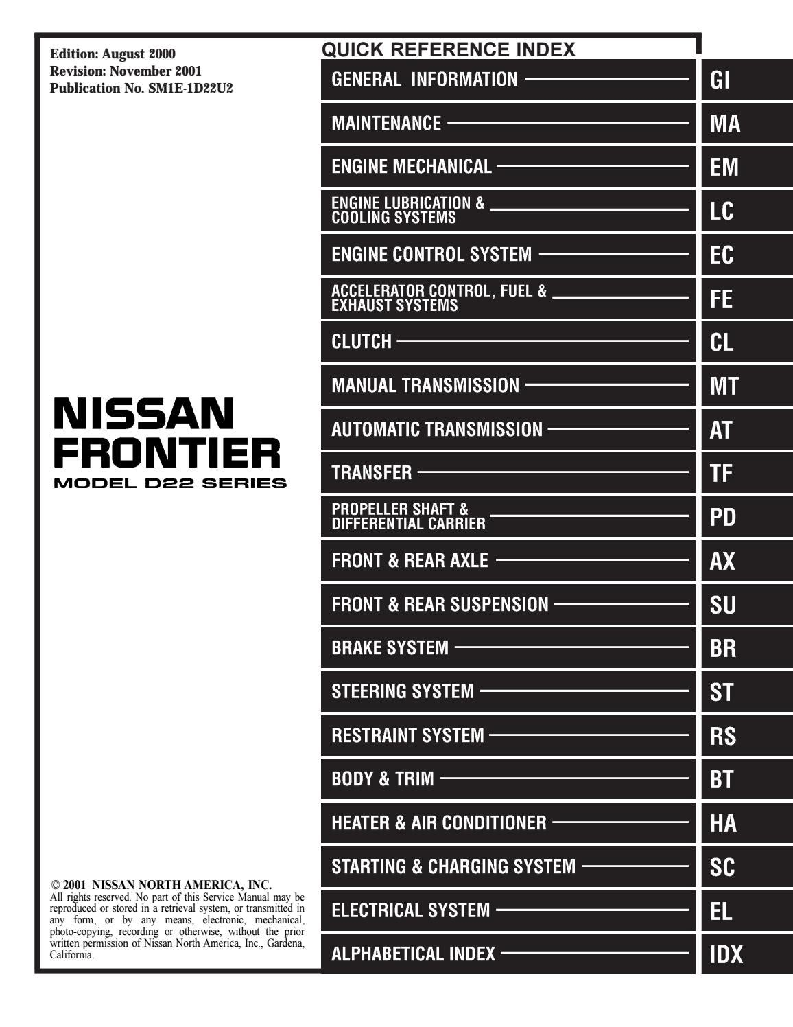 2001 nissan frontier service repair manual by 163615 - issuu  issuu