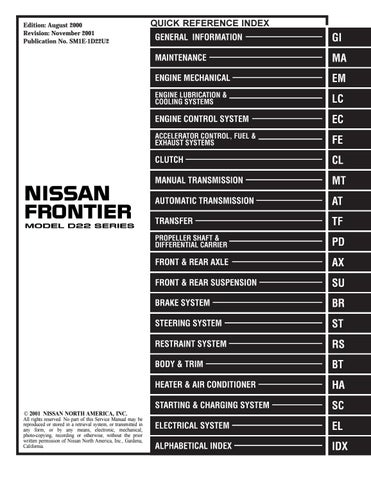 2001 NISSAN FRONTIER Service Repair Manual by 163615 - issuu   1998 Nissan Frontier Ac Wiring Diagram      Issuu