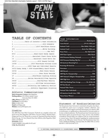 2c3985a3a Penn State Men s Gymnastics 2009-10 by Penn State Athletics - issuu
