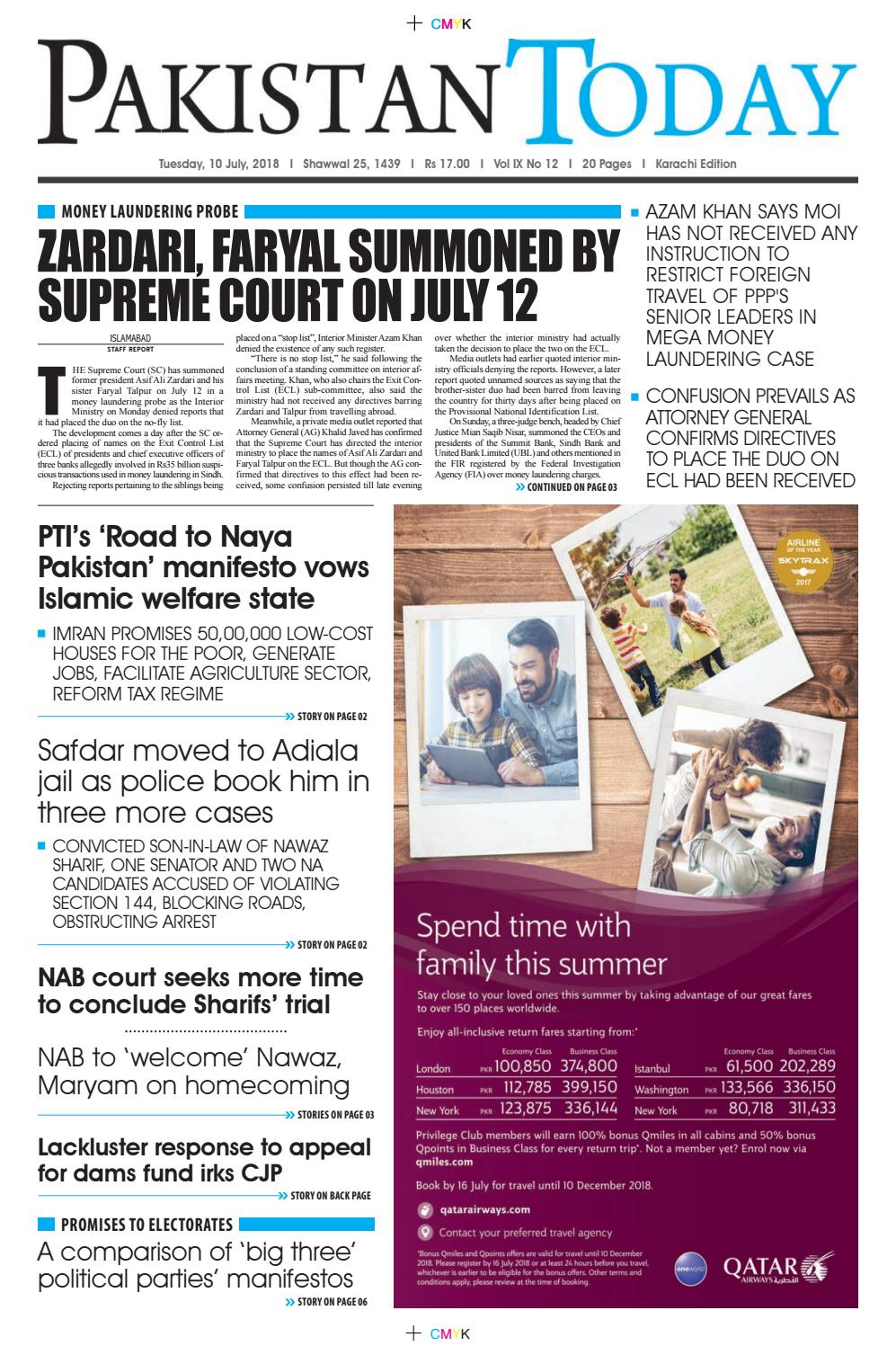 E-Paper PDF 10 July 2018 (KHI) by Pakistan Today - issuu