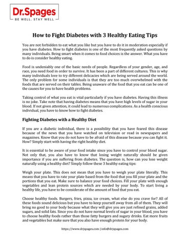 How to Fight Diabetes with 3 Healthy Eating Tips