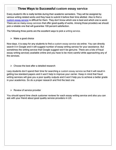 Three Ways To Successful Custom Essay Service By Essays Master  Issuu Three Ways To Successful Custom Essay Service Every Students Life Is  Really Terrible During Their Academic Semesters They Will Be Assigned By  Various  English Essay Writing Examples also Thesis Statements For Essays  How To Write A Thesis For A Narrative Essay