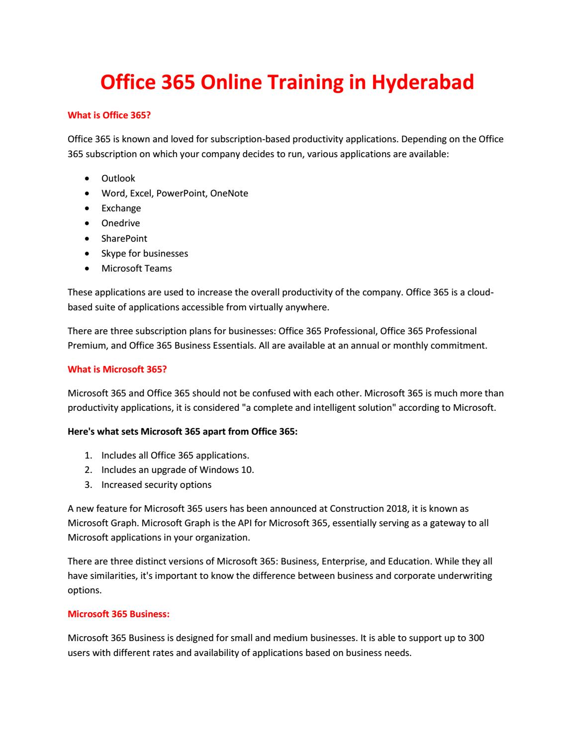 Office 365 Training in Hyderabad by Madhuri Kamsali - issuu
