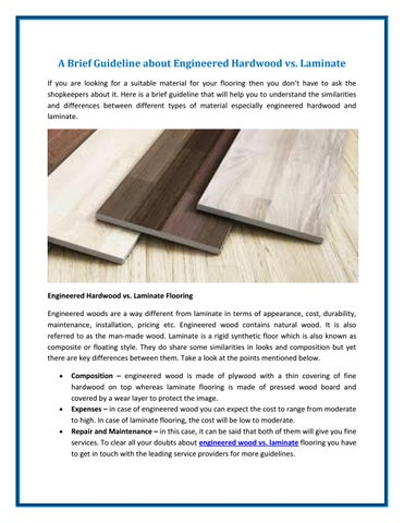 A Brief Guideline About Engineered Hardwood Vs Laminate By Cl Floor