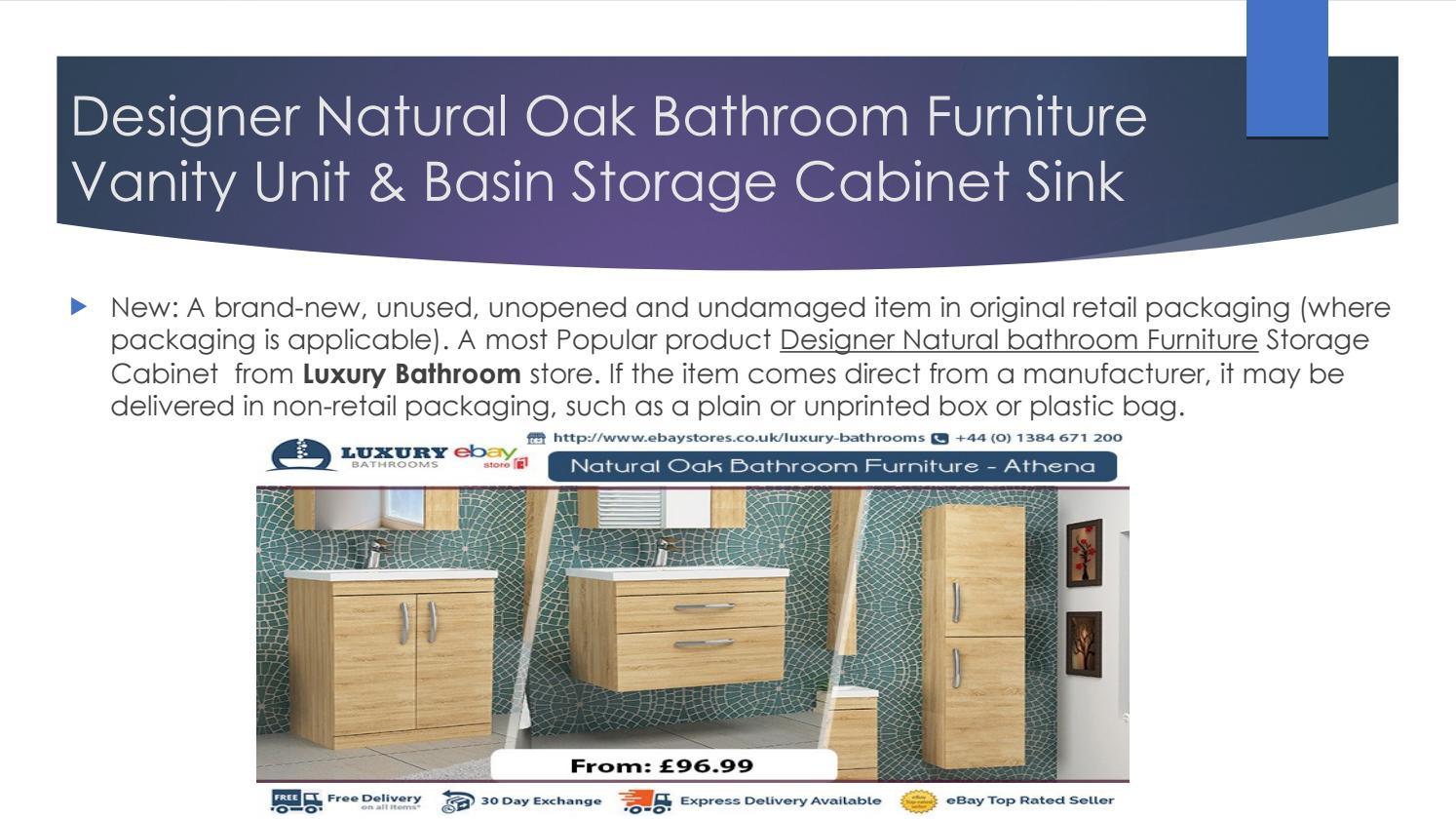 Designer Natural Oak Bathroom Furniture