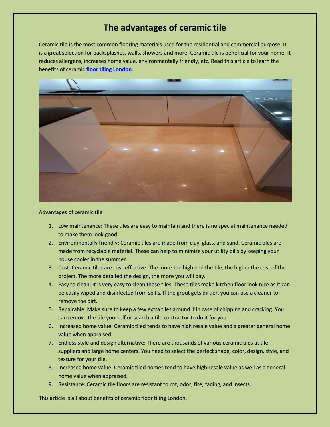 The Advantages Of Ceramic Tile By Mario Pop1 Issuu