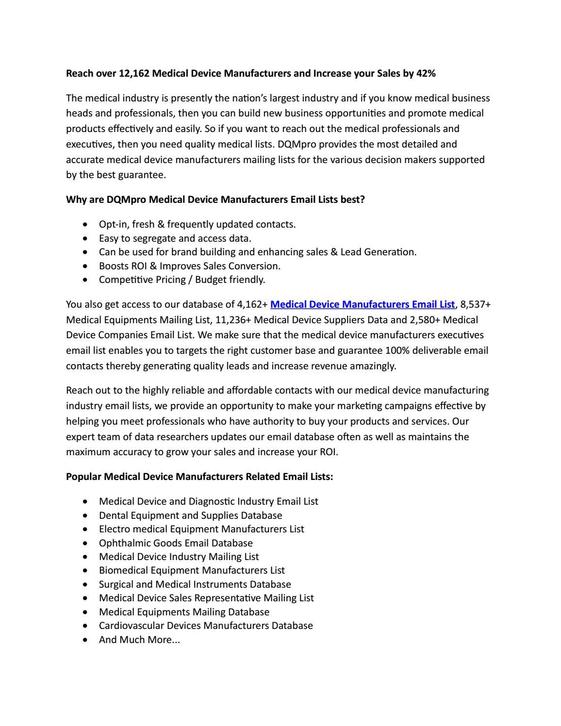 Manufacturing Companies Database