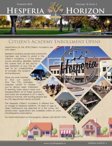 Hesperia Horizon Newsletter, Summer 2018 by City of Hesperia