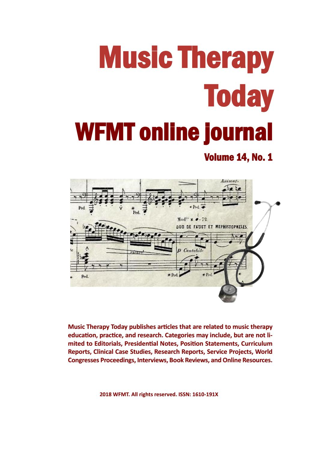 Music Therapy Today WFMT Online Journal Volume 14 No 1 By
