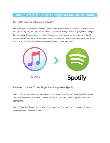 How to Transfer iTunes Songs or Playlists to Spotify Easily