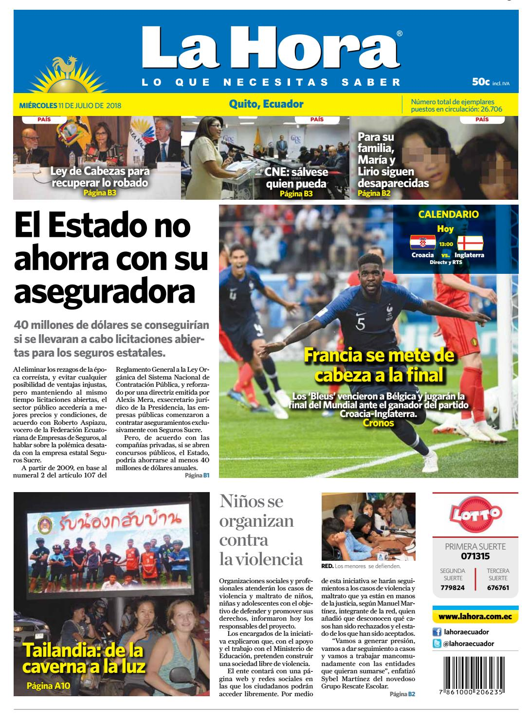 48b0da7148 Quito 11 de julio de 2018 by Diario La Hora Ecuador - issuu
