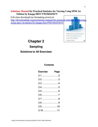 Solutions Manual for Practical Statistics for Nursing Using