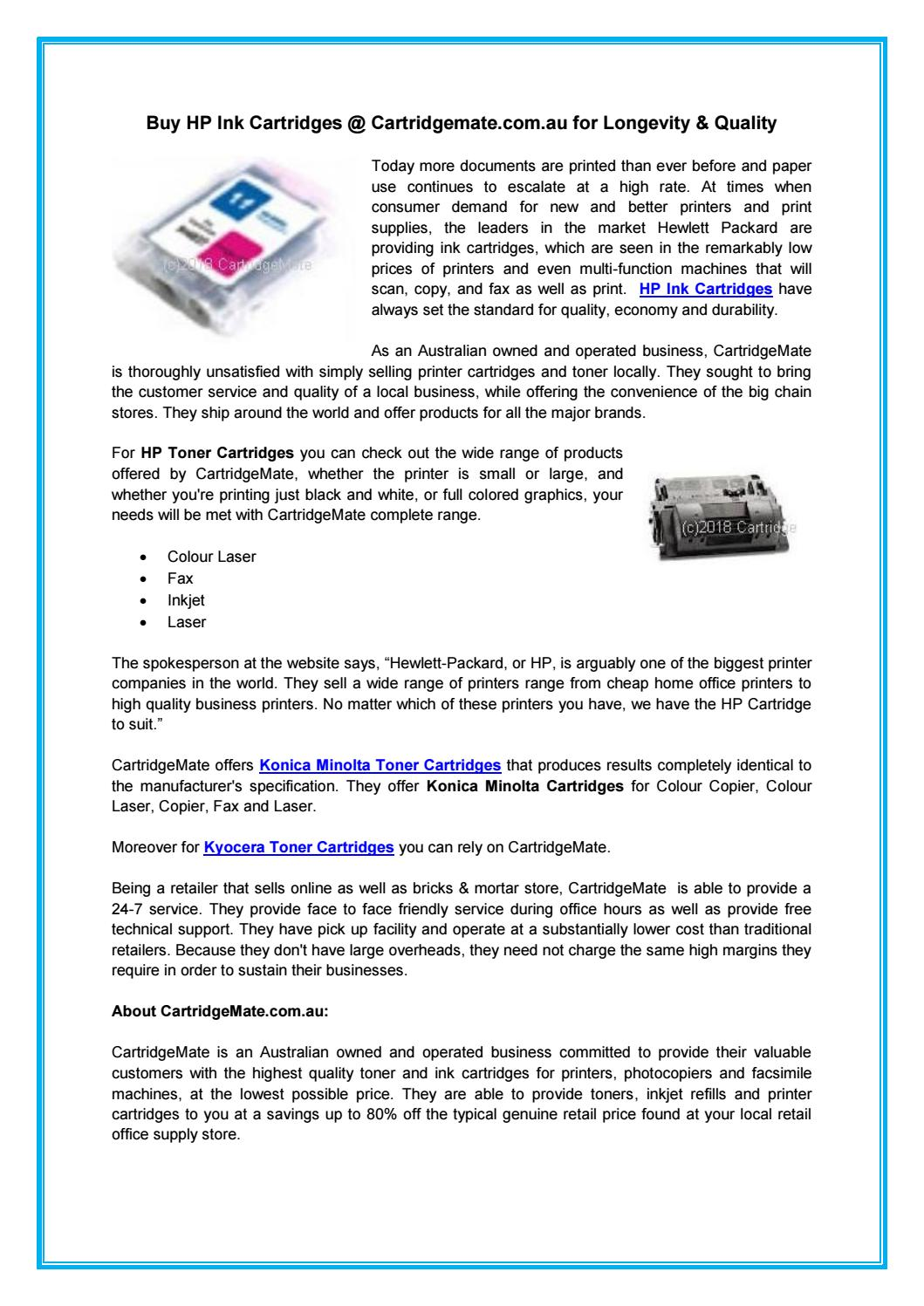 Buy HP Ink Cartridges @ Cartridgemate.com.au for Longevity & Quality ...
