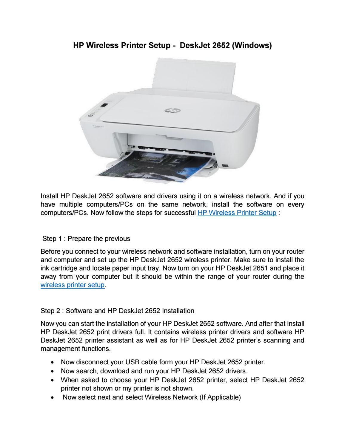 Hp Deskjet 2652 Printer Installation