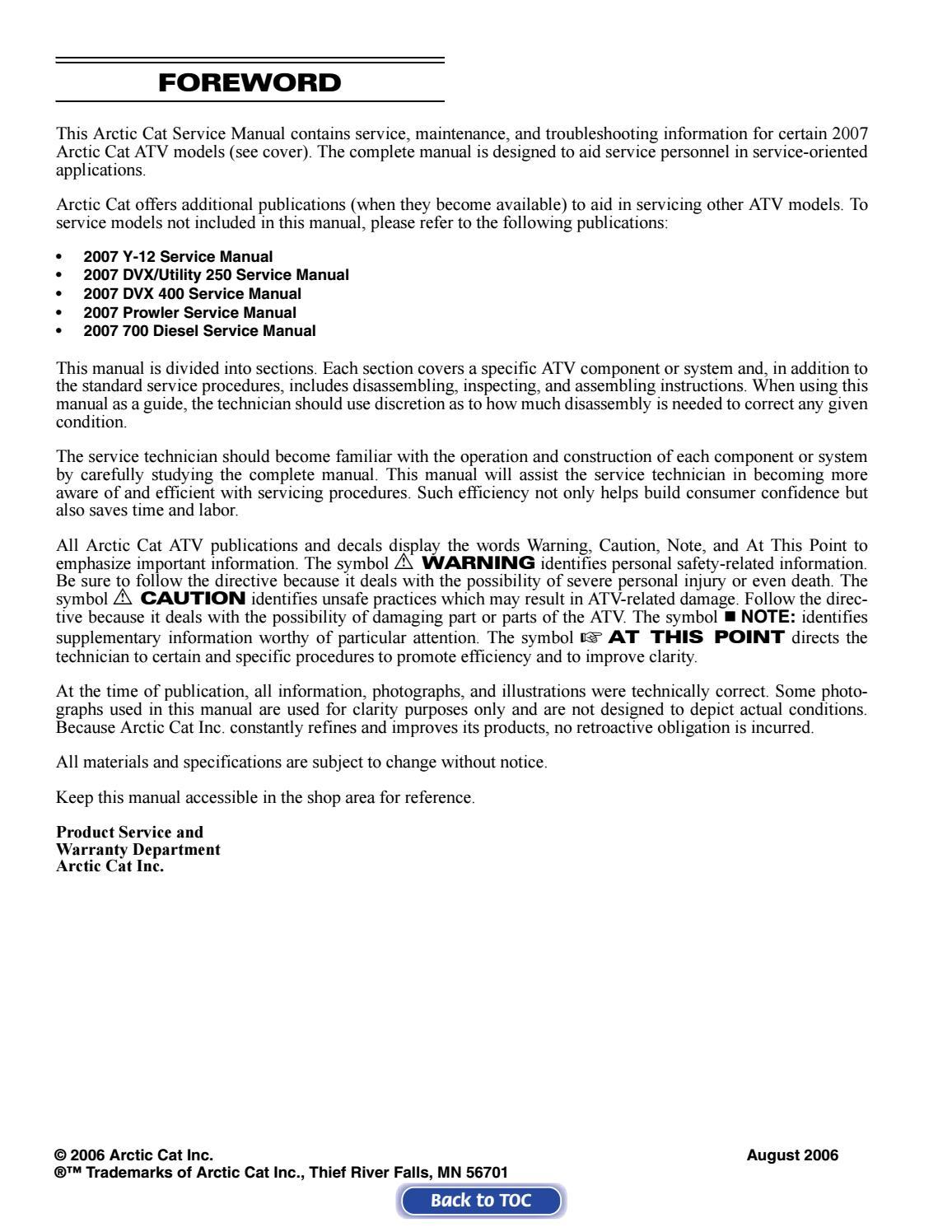 [SCHEMATICS_43NM]  2007 Arctic Cat 650 H1 ATV Service Repair Manual by 163615 - issuu | Arctic Cat 650 Wiring Schematic |  | Issuu