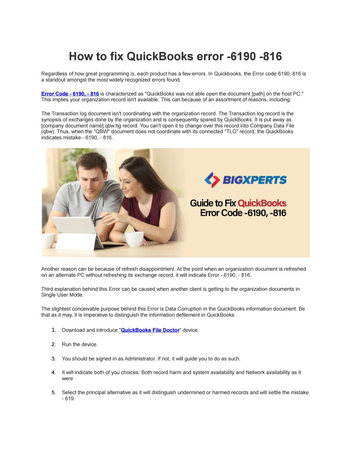 How to fix QuickBooks error -6190 -816 | Bigxperts by