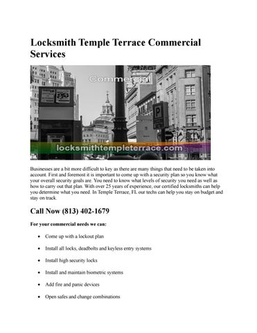 Page 1 Locksmith Temple Terrace Commercial Services