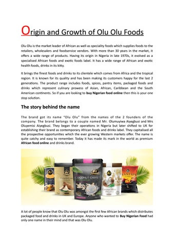 Origin and Growth of Olu Olu Foods by Olu Olu Foods - issuu