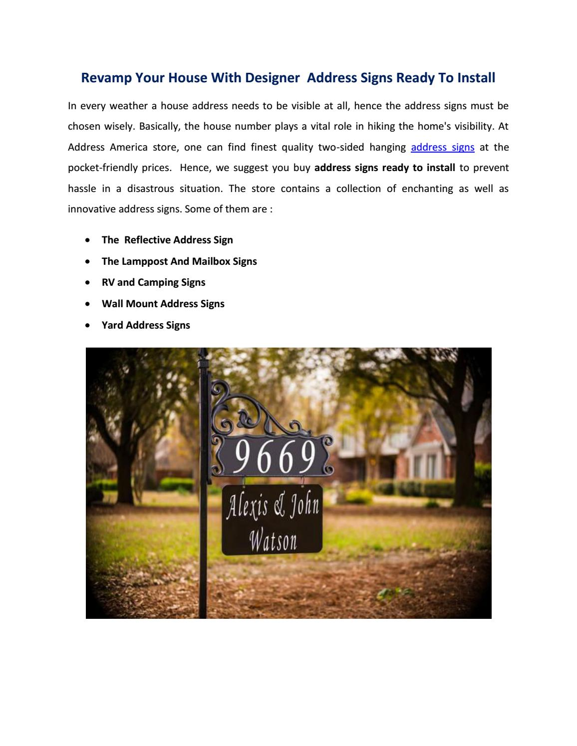 Revamp your house with designer address signs ready to install by address america issuu