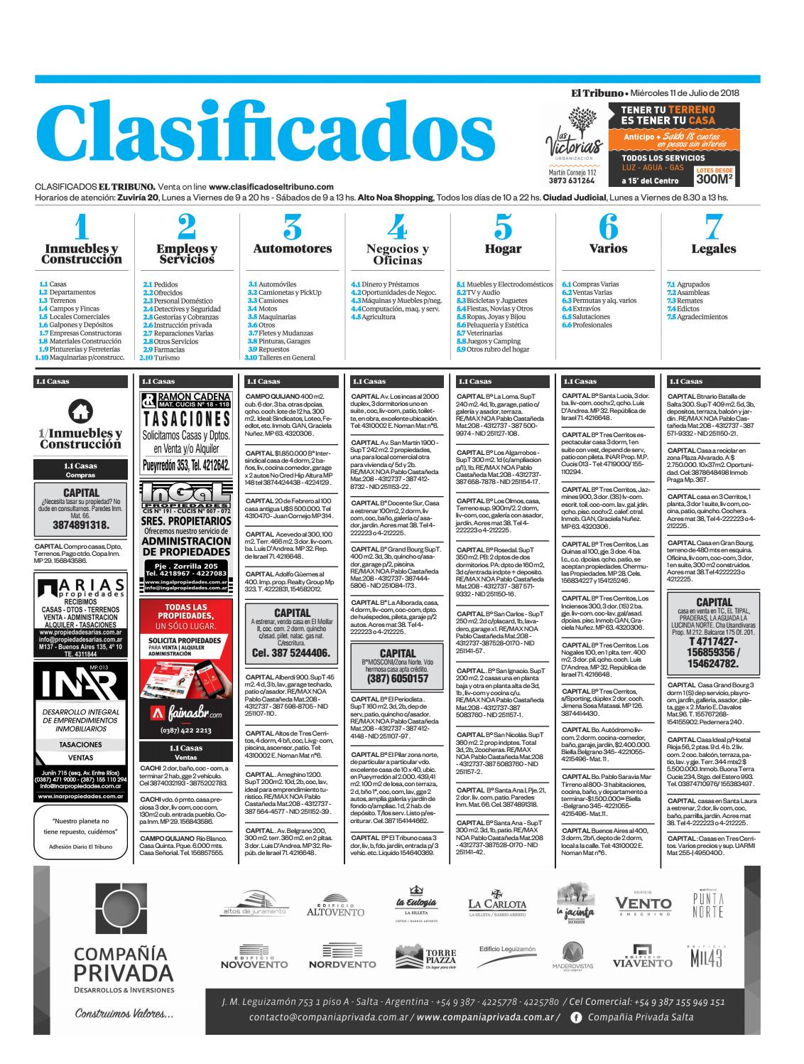 El Issuu Tribuno De 2018 Julio Clasificados By 11 FJcT3lK1