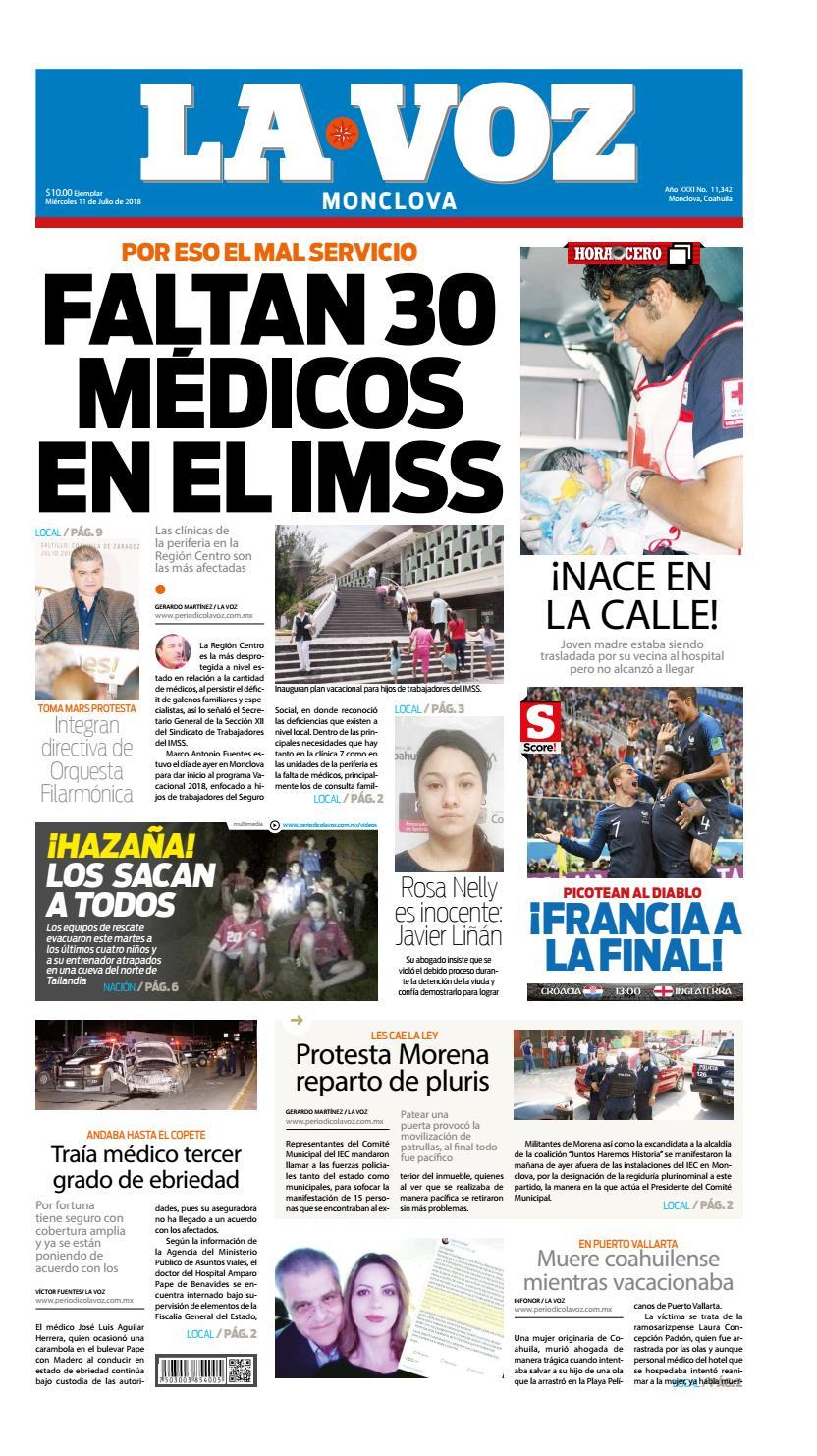 7afec978bc Periodico Digital 11 de Julio 2018 by LA VOZ Monclova - issuu