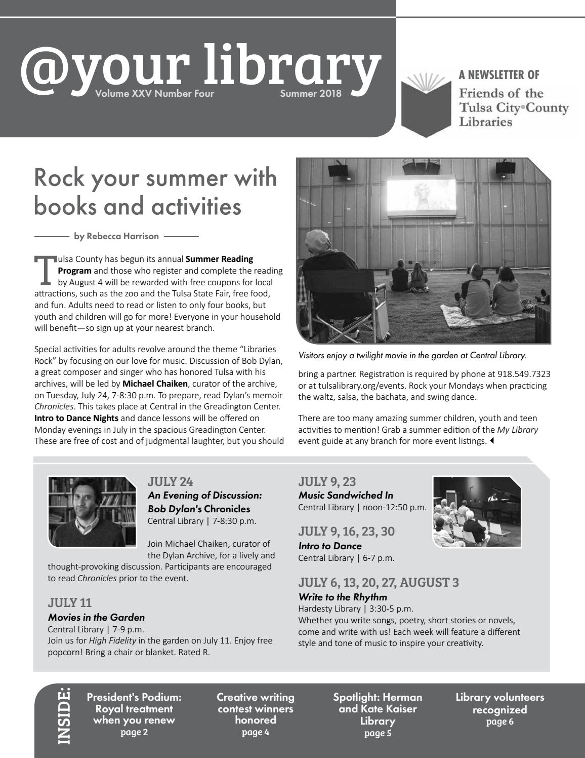 Friends of TCCL Summer 2018 Newsletter by Friends of the