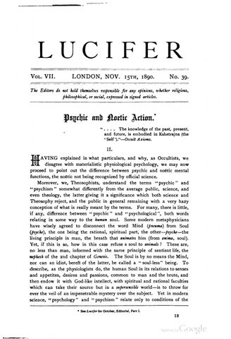 39H P  Blavatsky & Annie Besant, editors - Lucifer Vol  VII, No  39