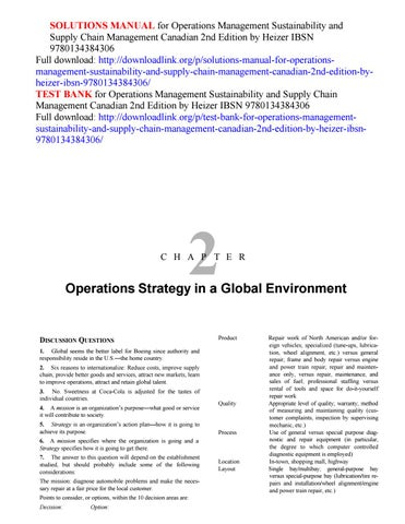 Solutions manual for operations sustainability and supply chain