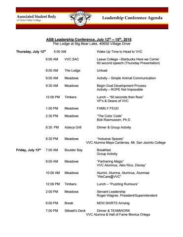 ASB 2018 Leadership Retreat Agenda by Robert Sewell - issuu