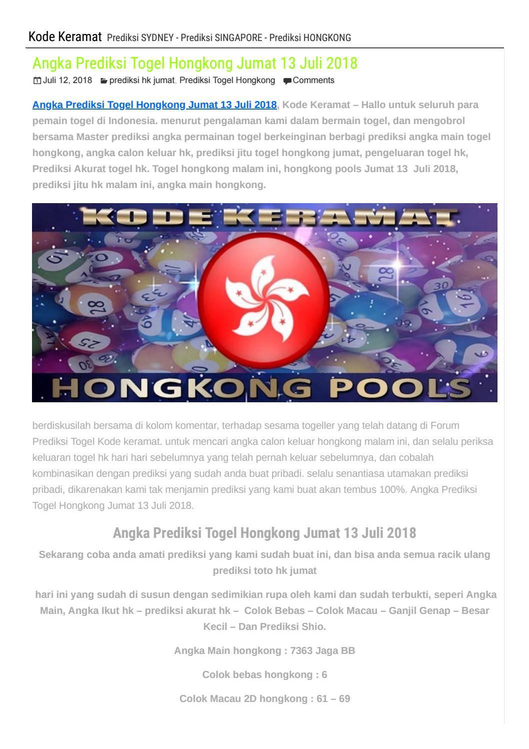 Angka Prediksi Togel Hongkong Jumat 13 Juli 2018