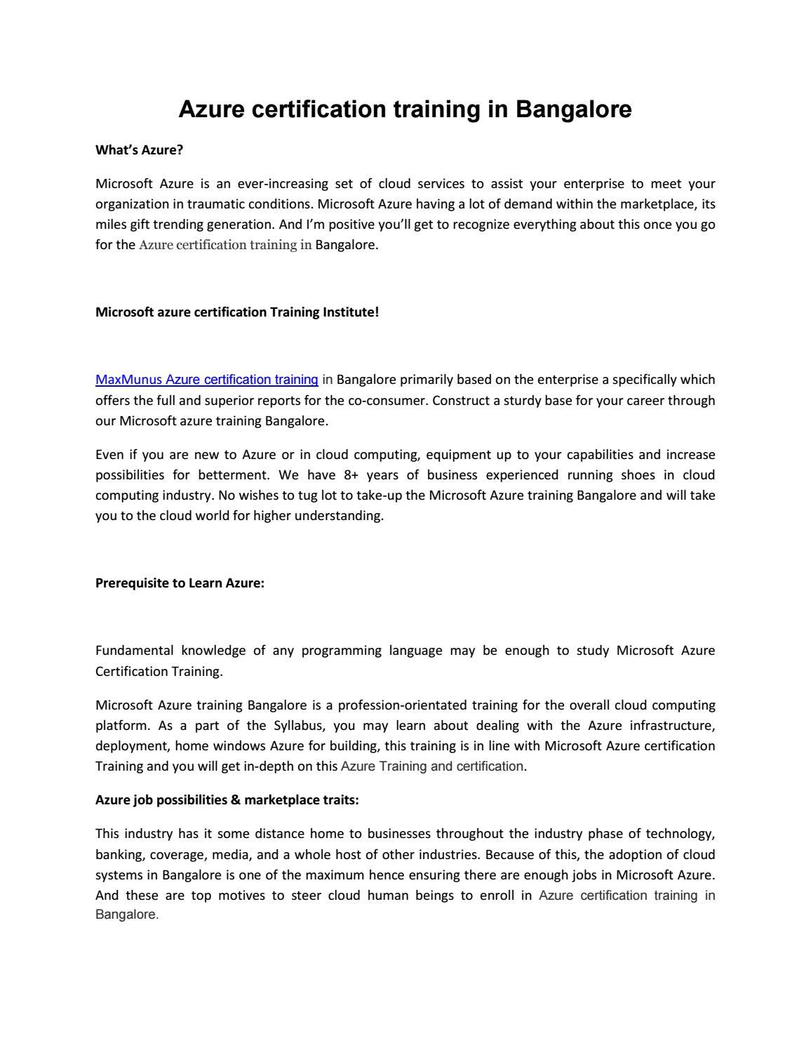 Azure Classroom Training By Maxmunus6 Issuu