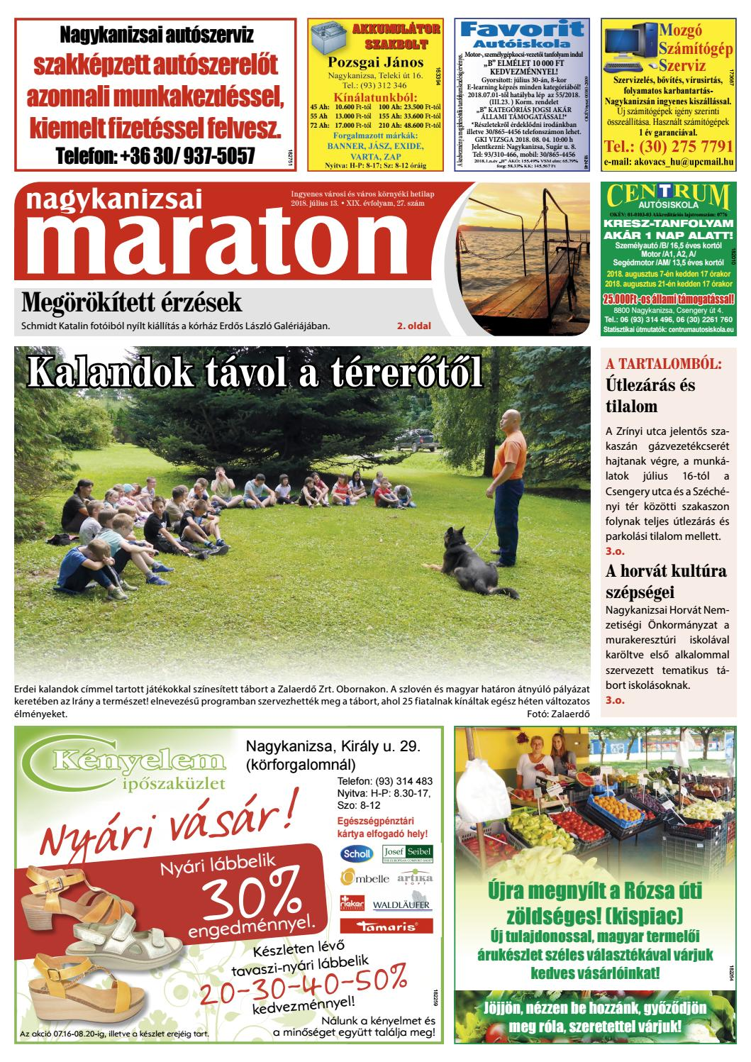 Nagykanizsai Maraton - 2018. 07. 13. by Maraton Lapcsoport Kft. - issuu 98865a99f8