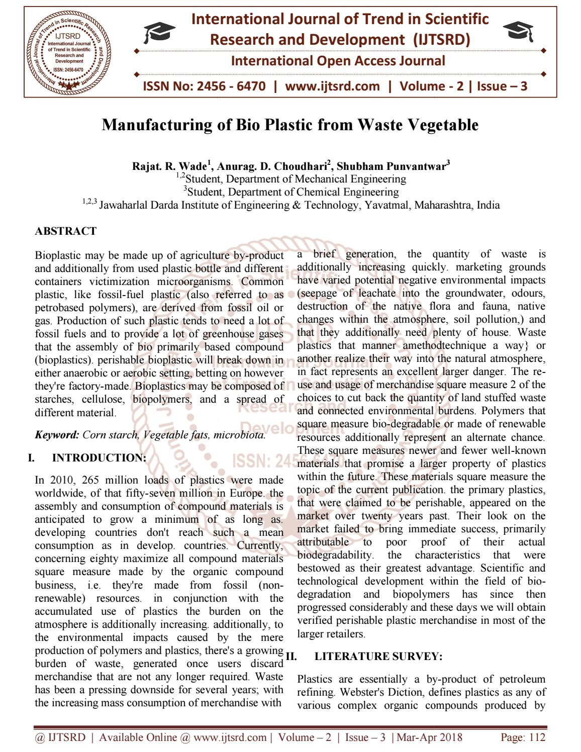 Manufacturing of Bio Plastic from Waste Vegetable by