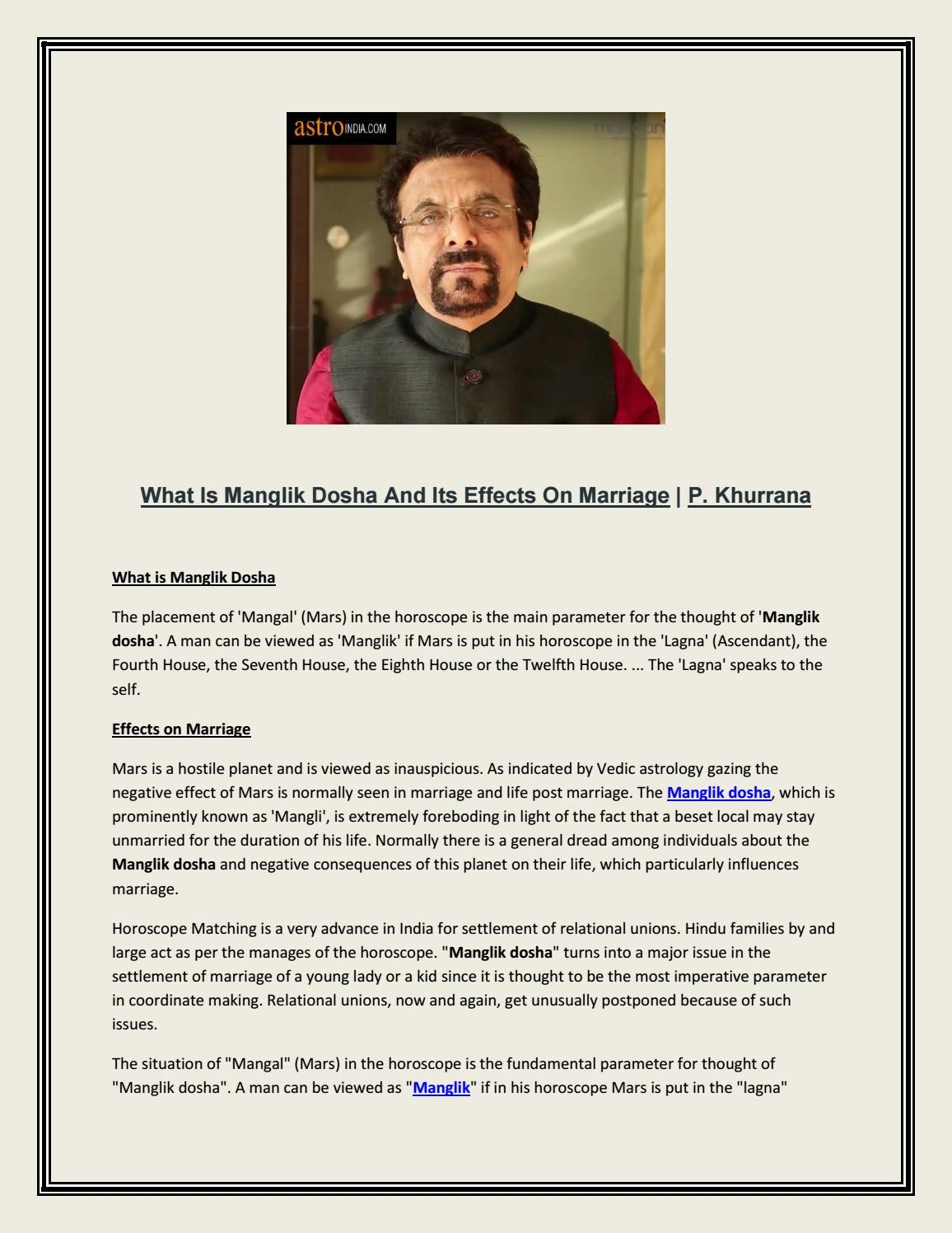 What Is Manglik Dosha And Its Effects On Marriage | P  Khurrana by
